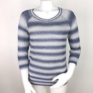 Lou & Grey Sweater Striped Open Knit Split Side M
